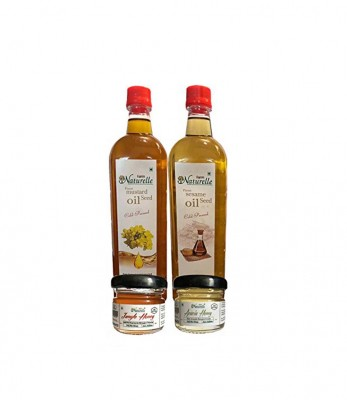 Farm Naturelle Kachi Ghani Cold Pressed Mustard Oil & Virgin Sesame/Gingelly Oil And Get 2 Different Forest Honey Free