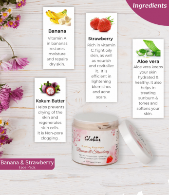 Globus Naturals Purifying Banana & Strawberry Anti Aging Face Pack 125gms