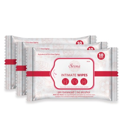 SIRONA Intimate Wet Wipes 30 Wipes (3 Pack - 10 Wipes Each)