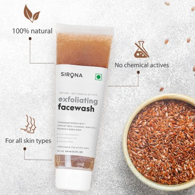 Sirona Natural Exfoliating Face Wash Facial Cleaner With Apricot & Flaxseed Extracts & 5 Magical Herbs To Help Reduce Blemishes, Fight Acne